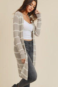 Grey & White Stripe Ribbed Duster Cardigan