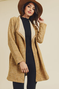 Ash Mustard Open Front Cardigan