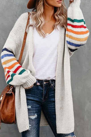 Cream Balloon Sleeve Multi Stripe Sweater Cardigan