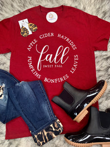 Heather Red Fall Sweet Fall Tee
