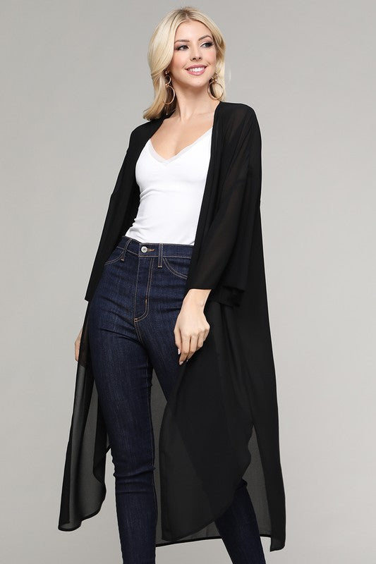 Black Solid Sheer Duster Cardigan