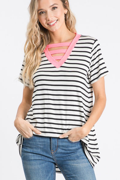 Pink & Black Stripe Tunic