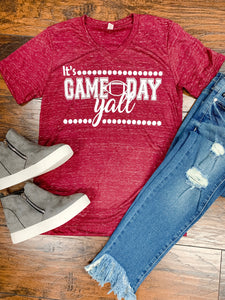 Maroon Game Day Y'all Football Tee