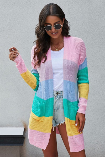 Multi Color Block Open Front Knit Cardigan