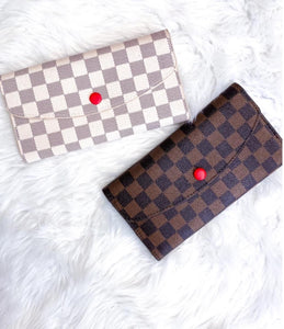 Kenneth Checkered Fold Over Wallet