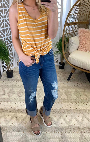 Judy Blue Cuffed Distressed Boyfriend Jean