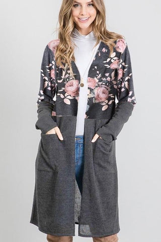 Charcoal Floral Pocket Cardigan
