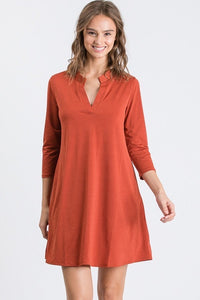 Rust Mandarin Collar Solid Shirt Dress