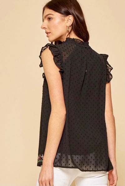 Black Embroidered Swiss Dot Top