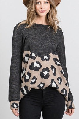 Charcoal Taupe Animal Print Sweater