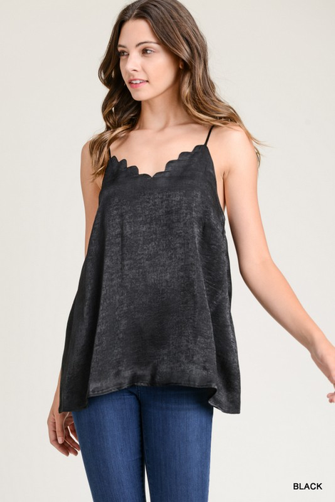 Scalloped Adjustable Camisole Tank Black