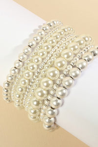 Silver & Pearl Stacking Bracelets