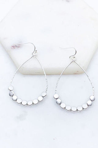 Teardrop Round Disc Drop Earring