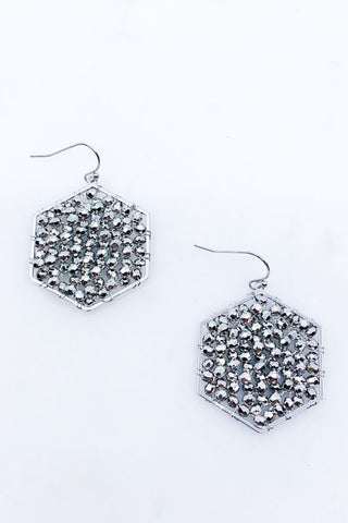Silver Metal Woven Hexagon Earring