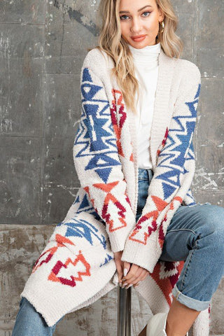 Cream Aztec Print Sweater Cardigan