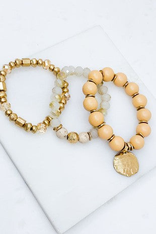 Ivory Wood & Glass Bead Bracelet Set