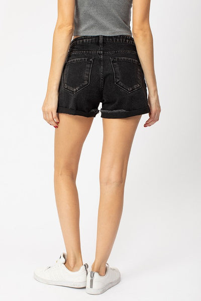 KanCan Black Distressed Cuffed Short