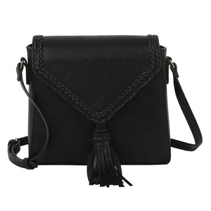 Black Braided Tassel Crossbody