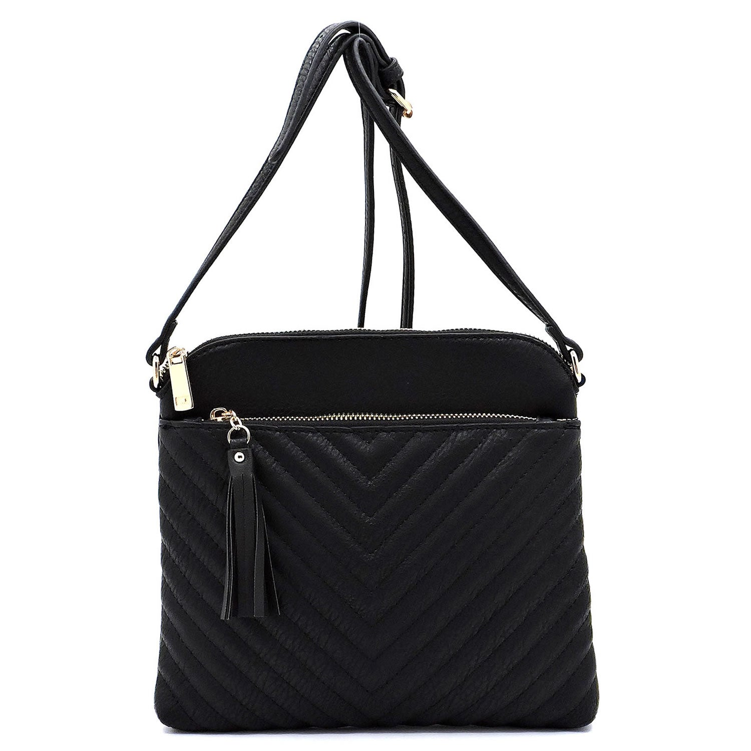 Black Chevron Quilted Crossbody Purse