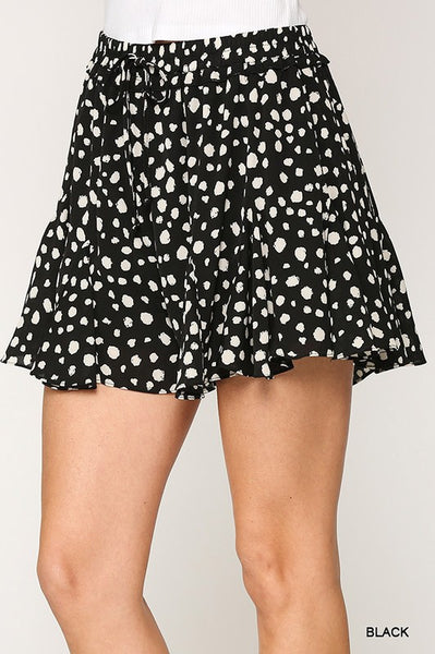 Black Dotted Flared Short