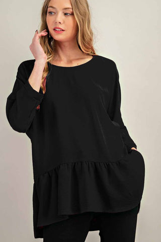 Black Woven Tiered Boat Neck Top