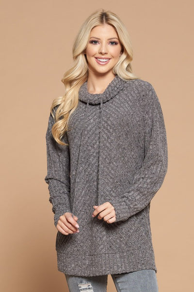 Cashmere Soft Charcoal Ribbed Cowl Neck Sweater
