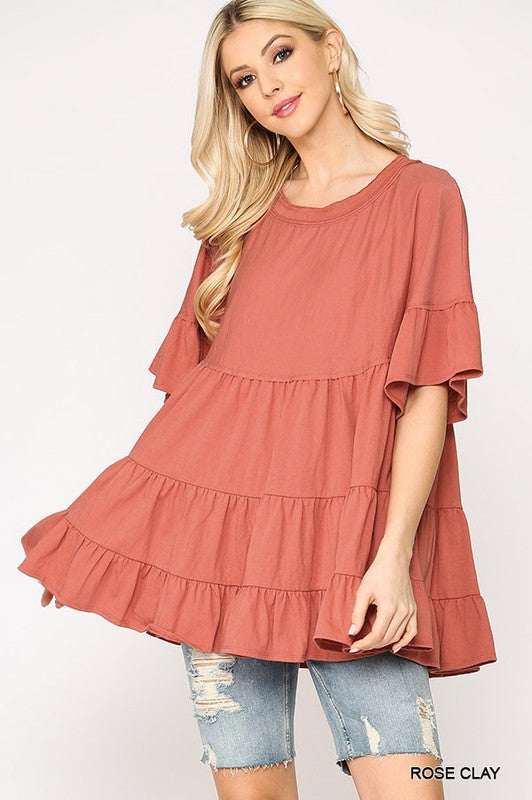 Rose Clay Solid Knit Ruffle Tiered Top
