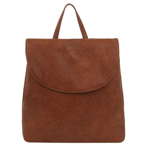 Cognac Convertible Flap Backpack
