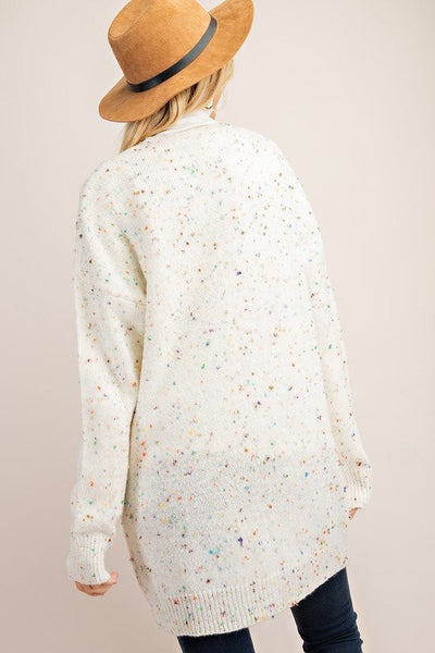Ivory Open Front Confetti Cardigan