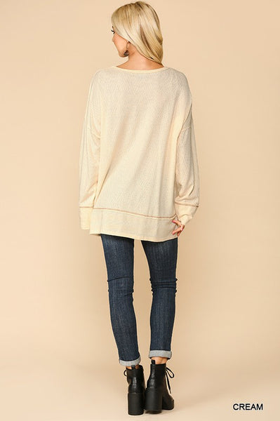 Cream Soft Knit Contrast Sweater