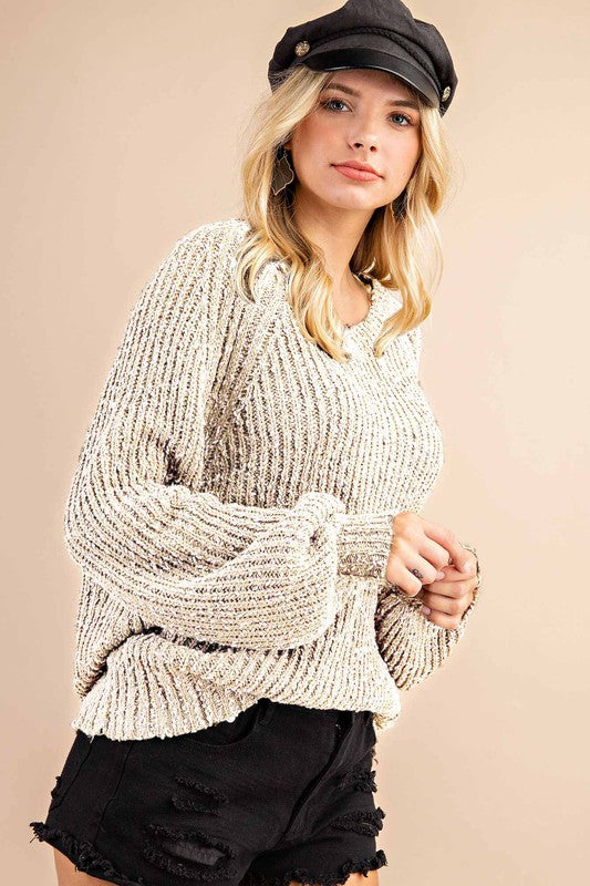 Cream Two Tone Bubble Sleeve Sweater