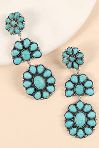 Tiered Turquoise Oval Blossom Drop Earring
