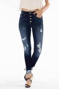 KanCan Button Down Distressed Skinny Jean