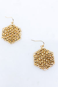Gold Metal Woven Hexagon Earring