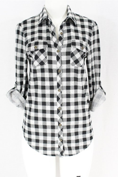 Grey Black Plaid Flannel Style Button Down Shirt