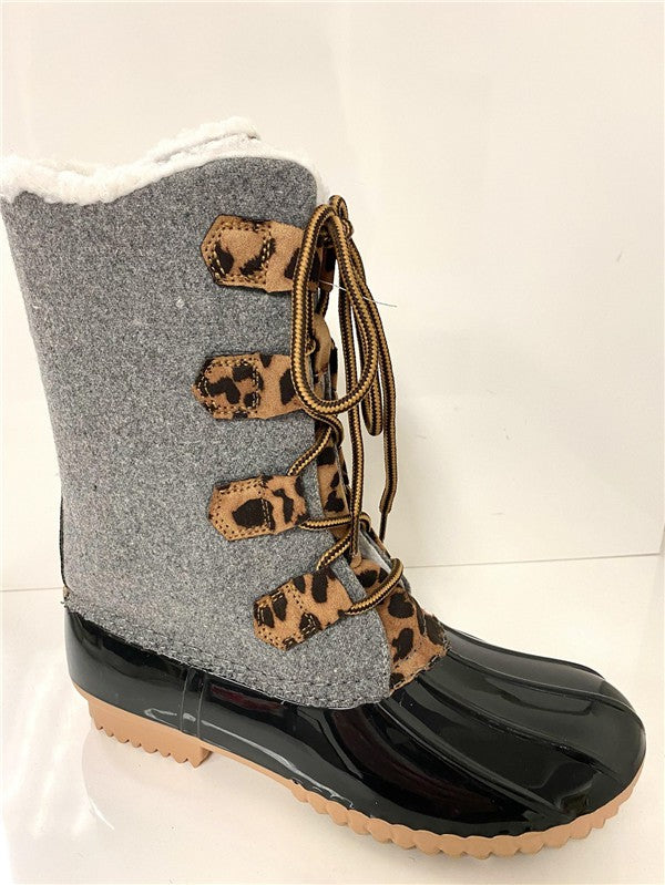 Leopard Detail Grey Duck Boots