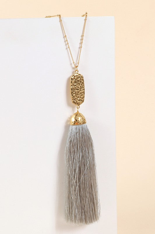 Hammered Metal Light Grey Tassel Drop Pendant Necklace