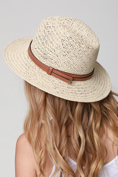 Leather Detail Panama Sun Hat