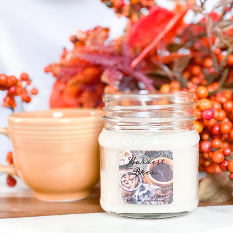 Harvest Brew 8oz Mason Jar Soy Candles