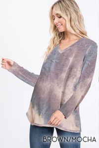 Muted Mocha Brown Tie Dye V-Neck Top