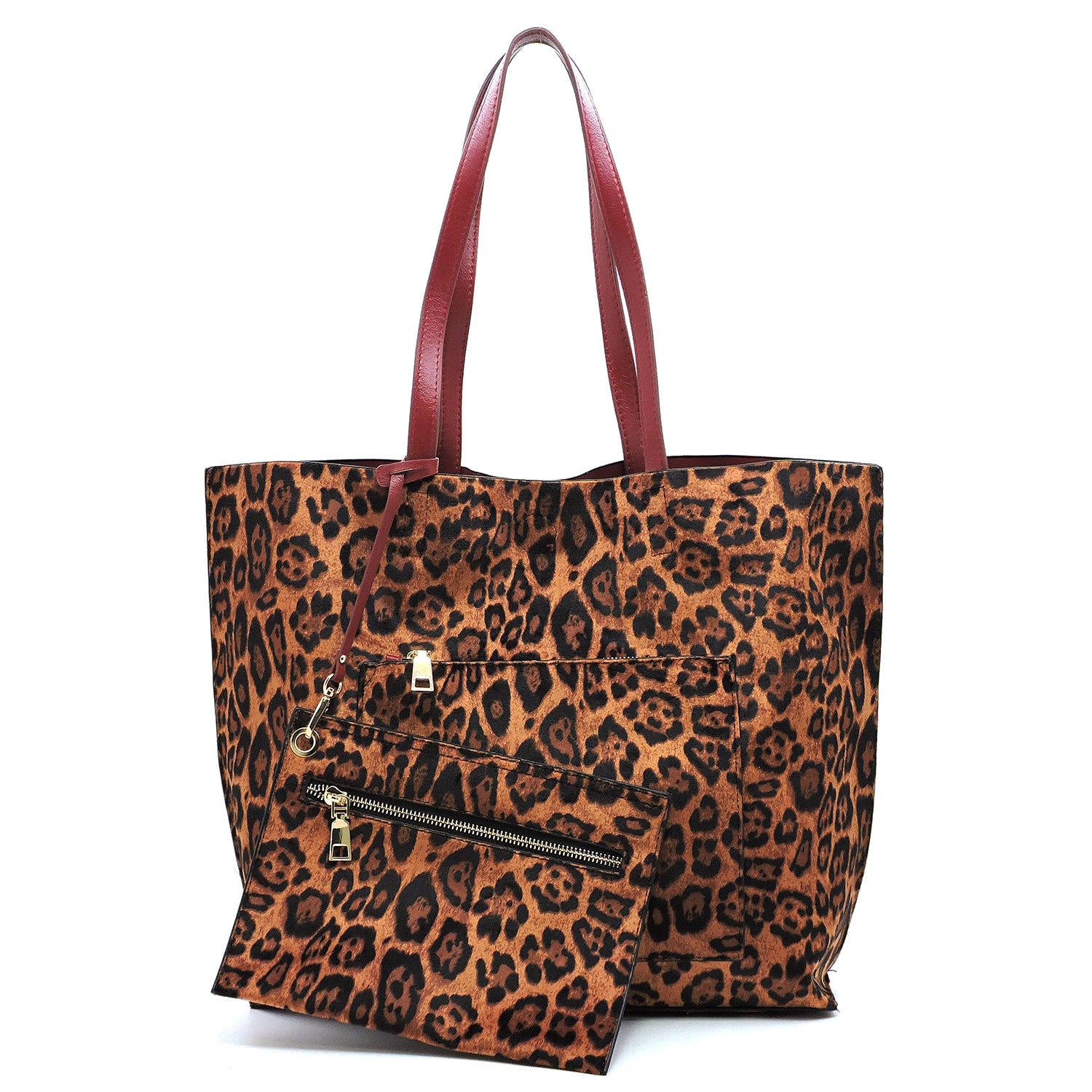 Reversible Red & Leopard 2-In-1 Tote Set