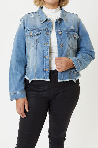 KanCan Light Wash Distressed Jean Jacket
