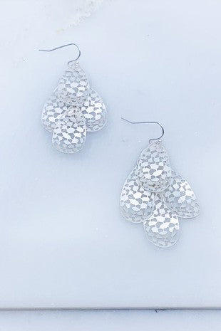 Matte Silver Layered Filigree Earring