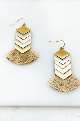 Silver & Gold Chevron Tassel Drop Earring