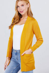 Open Front Cardigan Bright Mustard