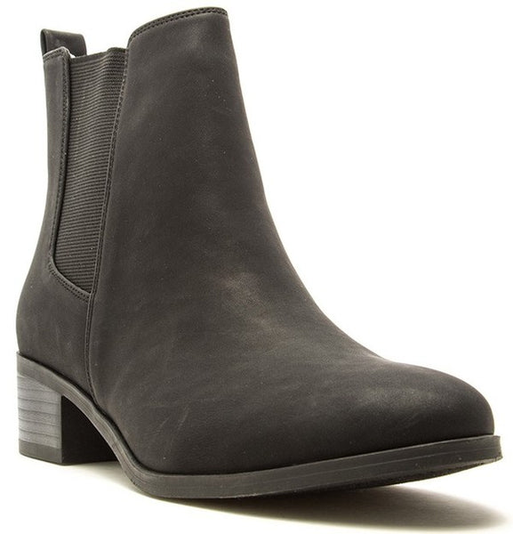 Becca Nubuck Slip On Black Booties