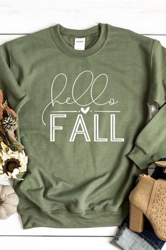 Hello Fall Military Green Cozy Sweatshirt
