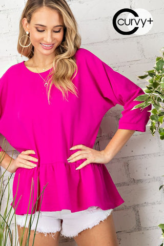 Fuchsia Woven Tiered Boat Neck Top