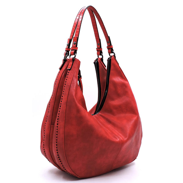 Red Croc Trim Hobo Shoulder Bag