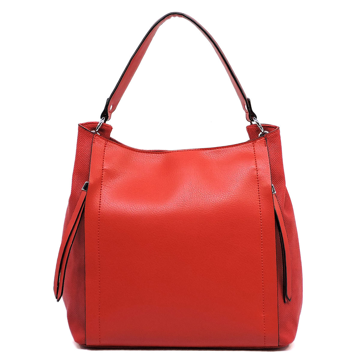 Red Double Front Zipper Shoulder Bag